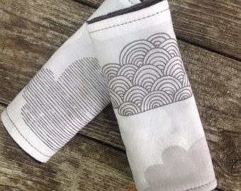 Organic Car Seat Strap Covers, Passing Clouds, Gray Stroller Strap Covers Organic Cotton Velour Reversible