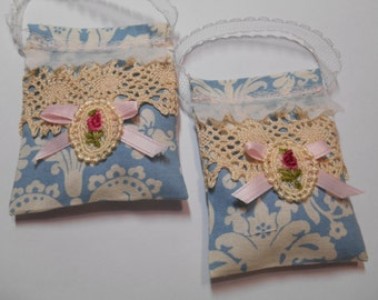 Victorian/Antique Lace/Damask Lavender Sachets (TWO) 4x3 Contains real Lavender buds/Scented with 100% pure Lavender Oil