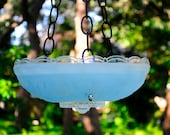 Blue glass bird feeder, hanging bird bath; garden wedding decor; new home, housewarming, Father's Day gift; suncatcher