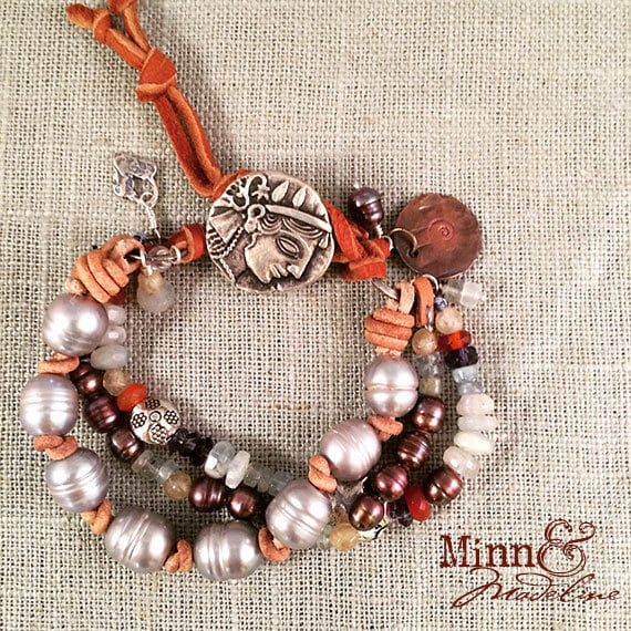 Pearl & Gemstone Multistrand Bracelet, Charm Gemstone Bracelet