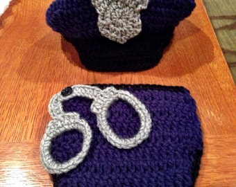 Crochet police hat and diaper cover