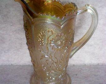 Imperial Glass Merigold  Fieldflower Carnival Glass Pitcher - 3965