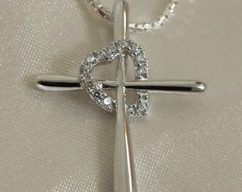 Sterling Silver Cross Heart CZ Necklace