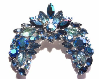 Large Vintage Blue Rhinestone Brooch Aurora Borealis and Art Glass Stones 60s