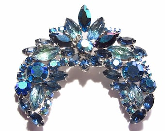 Large Vintage Arched Blue Rhinestone Brooch 60s