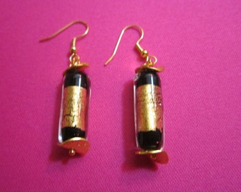Italian Glass Earrings with Gold Accents