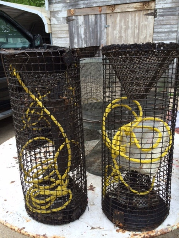 Vintage wire mesh shrimp crawfish fishing trap can also