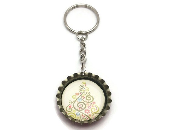 White Tree Bottlecap Keychain, Handmade Cute Car Accessory Nature Jewelry Gift for Women Kids Mom Daughter Round Circle Metal Christmas Boho