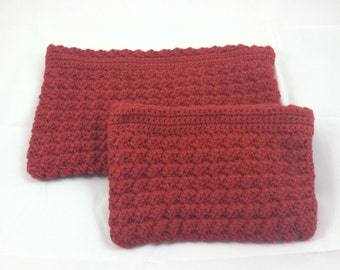 Set of 2 Handmade Zippered Crochet Pouches with Detachable Flower Pin