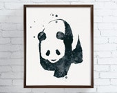 Watercolor Panda, Panda Painting, Panda Art, Panda Print, Panda Poster, Panda Illustration, Nursery Wall Decor, Kids Room Decor, Modern Art