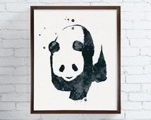 Watercolor Panda, Panda Painting, Panda Art, Panda Print, Panda Poster, Panda Illustration, Nursery Wall Decor, Kids Room Decor, Modern Art