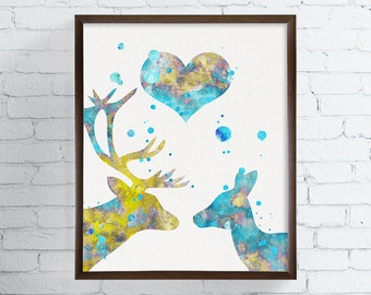 Deer Couple, Deer Art Print, Engagement Gift, Wedding Gift, Housewarming Gift, Watercolor Art, Deer Painting, Love Gifts, Gift Idea