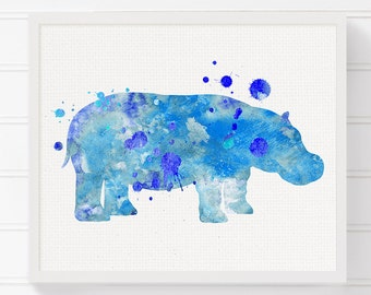 Watercolor Hippo Painting, Hippo Art Print, Hippo Poster, Kids Room Decor, Nursery Wall Decor, Baby Boy Nursery, Boys Room Decor, Blue Hippo