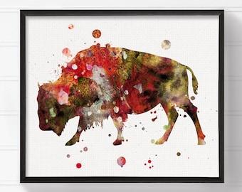 Bison Art, Bison Painting, Watercolor Bison, Bison Print, Watercolor Animal, Wall Art, Wall Decor, Modern Home Decor, Buffalo Art