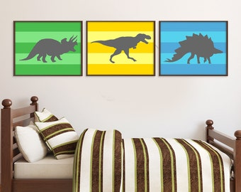 Dinosaur Print Set, Baby Boy Nursery, Nursery Art Print, Dinosaur Poster, Dinosaur Wall Decor, Dinosaur Wall Art, Kids Room Decor, Childrens