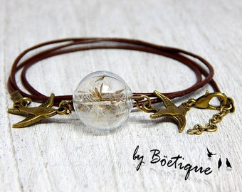 Leather Bracelet - Dandelions - Bronze / Brown