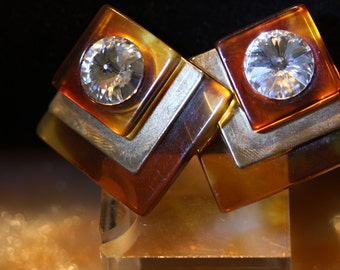 Stunning Vintage Lucite Tortoise Shell and Crystal Earrings