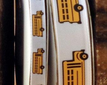 "2 Yards 7/8"" or 3/8"" School Bus Print Grosgrain Ribbon - US DESIGNER"