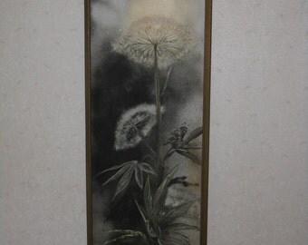 Large vintage original painting elegant dandelion framed signed 1960's black white green tall long