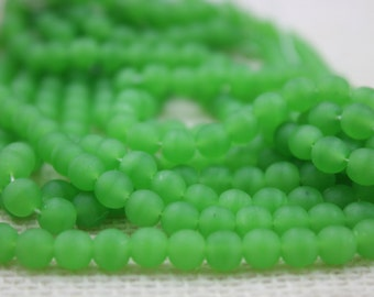 Vintage Lime Green Glass 5mm Beads (36 Pieces)