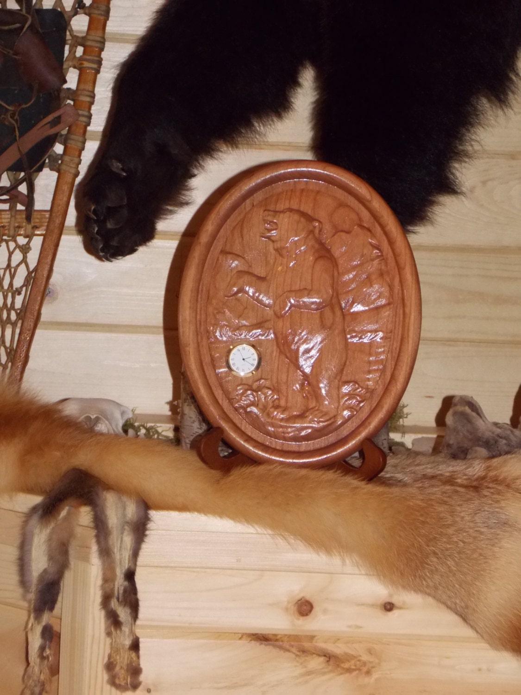 Wildlife wall clock rustic wall clock wall clock bear wood zoom amipublicfo Image collections
