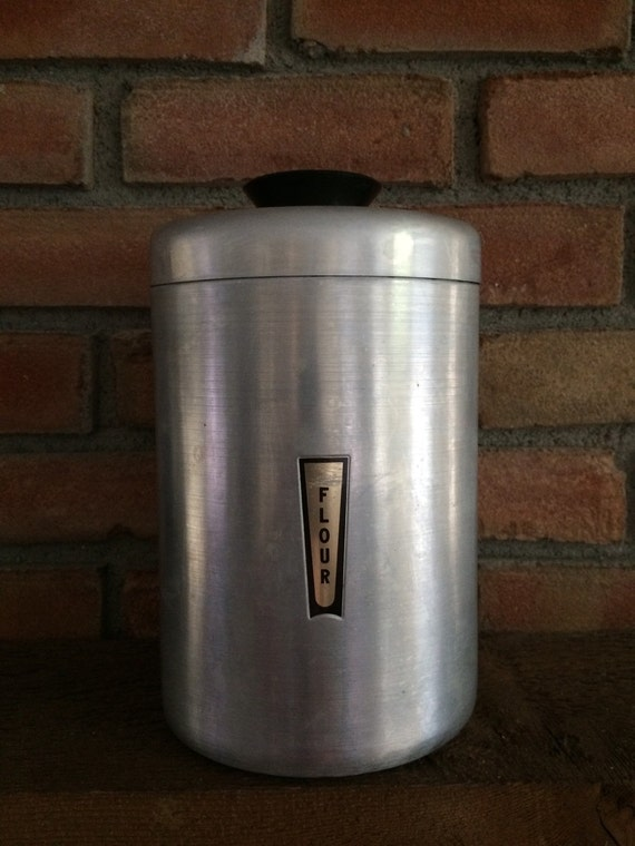 vintage flour canister 1950 art deco style stainless steel