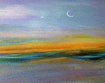 MOON PATH BEACH abstract seascape, mixed media on 18 x 18 in. textured impasto,beach,Venus,clouds moon evening star ocean layers