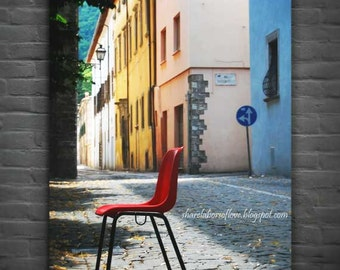 Italian Street Photography, Chair and Shadows, Cagli, Le Marche, Italy