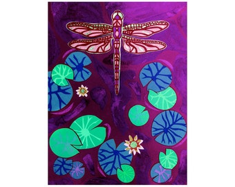 Purple Dragonfly Collage Art - Dragonfly Wall Art