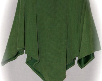 Green Suede Jersey Poncho