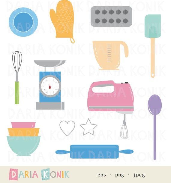 Kitchen Window Clip Art: Baking Clip Art Set-kitchen Clipart Baking Utensils Rolling