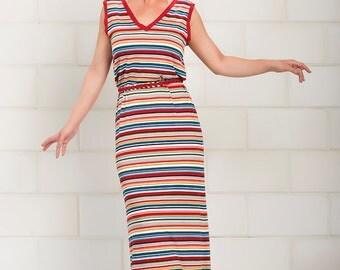 Striped Maxi Dress, Summer Dress, Long Maxi Dress, Stripe Dress, Sleeveless Maxi Dress, Summer Fashion - Menumeret