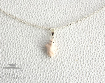 Cute white ghost on (925 sterling) silver necklace | Ceramic spirit pendant Halloween rolo chain