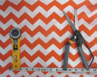 Orange and White Chevron Fabric 1 yard - Halloween