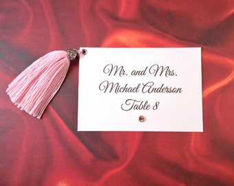 Place Cards with Tassel / Flat Cards / Table Card / Personalized Tassel Card / Dinner Name Card / Table Decoration / Event Place Cards