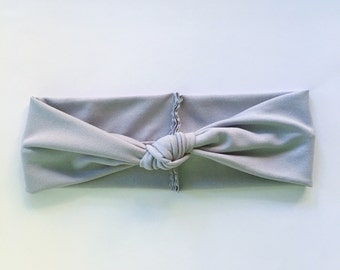 Baby Knotted Turban Headband - Grey