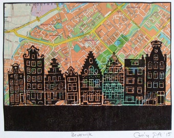 Beverwijk lino print, one-of-a-kind, canal houses hand-printed onto map from phone book. Signed, unframed.