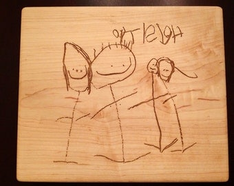 CHILDS DRAWING KEEPSAKE  Cutting Board  Mothers Day Gift Grandparent Gift