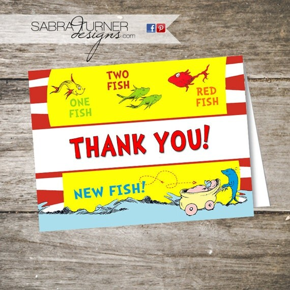 Dr Seuss Baby Shower Thank You Card One By Sabraturnerdesigns