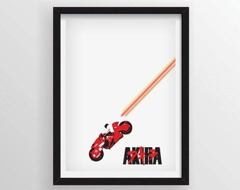 Akira Motorcycle Minimal Anime Movie Poster - A3 and 13 x 19 Available