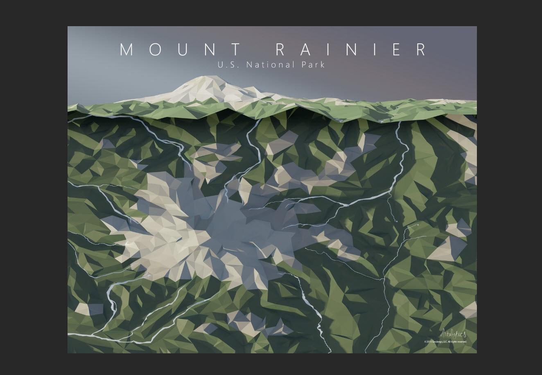 Mount Rainier National Park Map Art Mt Rainier Elevation Map - Map of us mount ranier
