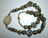Nice Necklace Created With Old Pumtek Burma Pyu Beads - Original Fossil Plamwood