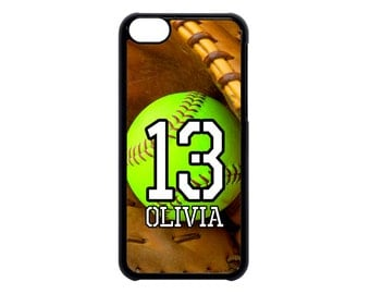 Personalized Number and Name Softball Case for iPhone 4 4s 5 5s 5c 6 6s 6 Plus ipod Touch case