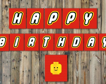 Lego Happy Birthday Banner-INSTANT DOWNLOAD