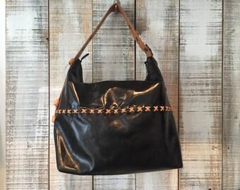 Black leather hobo purse, black shoulder bag, office bag