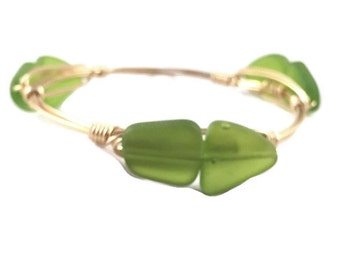 The Luck Bauble || Green Seaglass Freeform Bauble Bracelet
