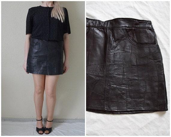 black leather mini skirt high waist skirt patchwork leather