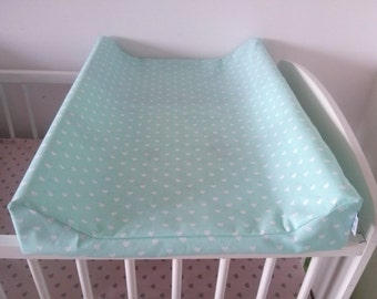 Contoured Changing Pad Cover *  White Hearts on Mint *