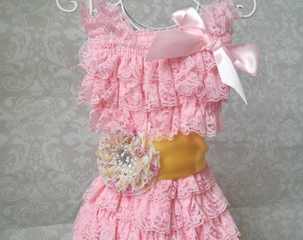 Ready to Ship Lemonade Lace Romper with Sash