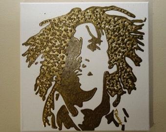 Bob Marley Painting (12x12) Pop Art, Reggae Art, Guitarist, Gold Painting, Music Art, One Love